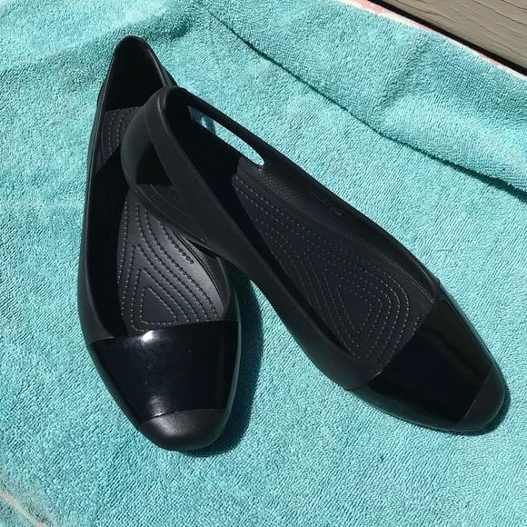 7537a24272 CROCS Shoes | Womens Black Sienna Shiny Flat | Poshmark